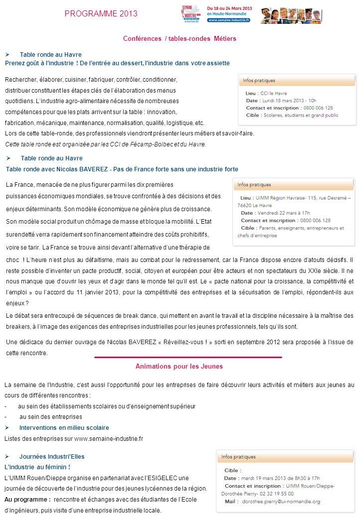 PROGRAMME 2013 Conférences / tables-rondes Métiers Table ronde au Havre Prenez goût à lindustrie .