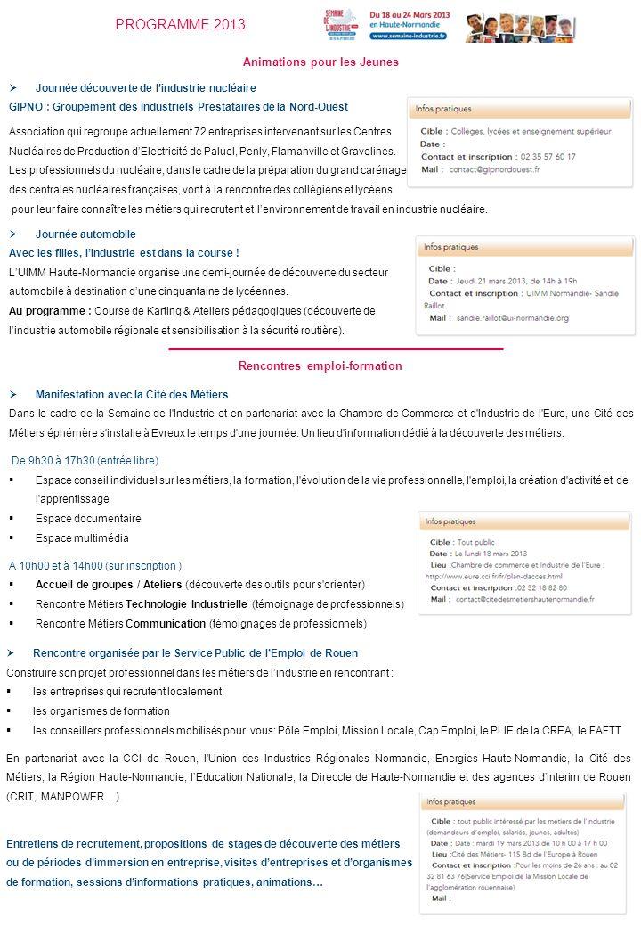 PROGRAMME 2013 Animations pour les Jeunes Journée découverte de lindustrie nucléaire GIPNO : Groupement des Industriels Prestataires de la Nord-Ouest Association qui regroupe actuellement 72 entreprises intervenant sur les Centres Nucléaires de Production dElectricité de Paluel, Penly, Flamanville et Gravelines.