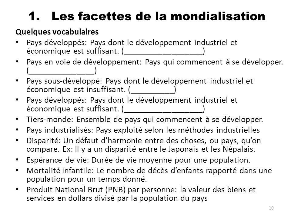 1. Les facettes de la mondialisation Quelques vocabulaires Pays développés: Pays dont le développement industriel et économique est suffisant. (______