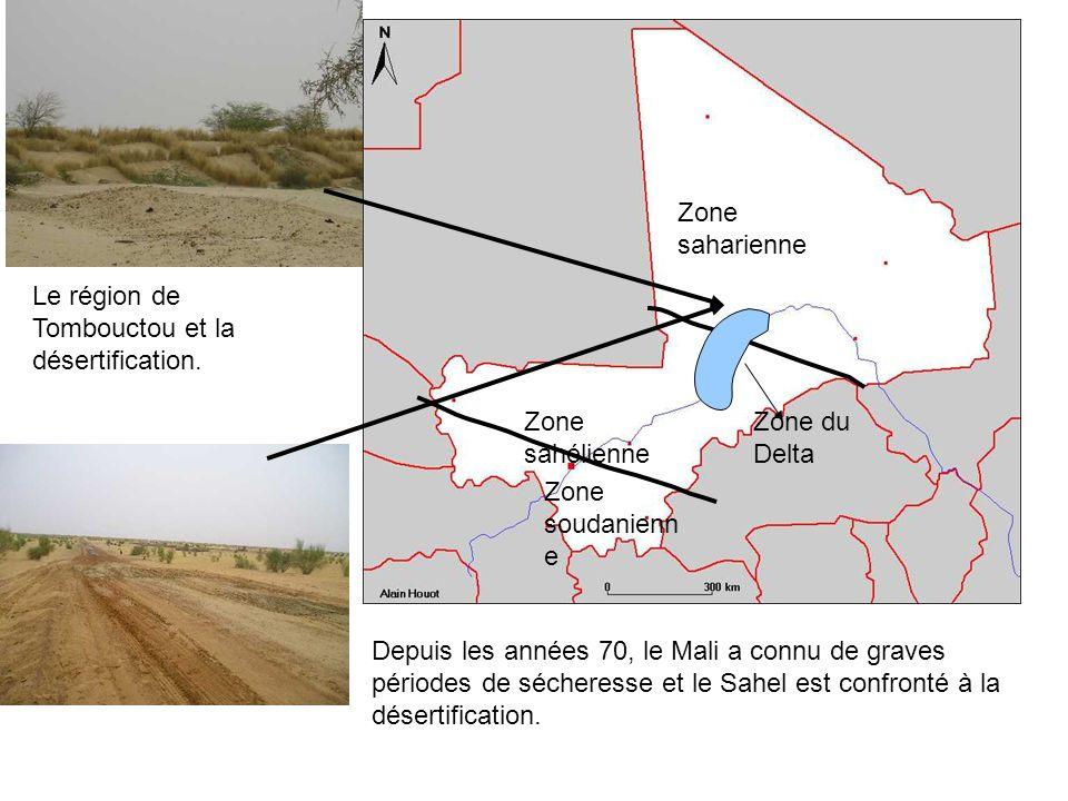 Zone saharienne Zone sahélienne Zone soudanienn e Zone du Delta Depuis les années 70, le Mali a connu de graves périodes de sécheresse et le Sahel est confronté à la désertification.