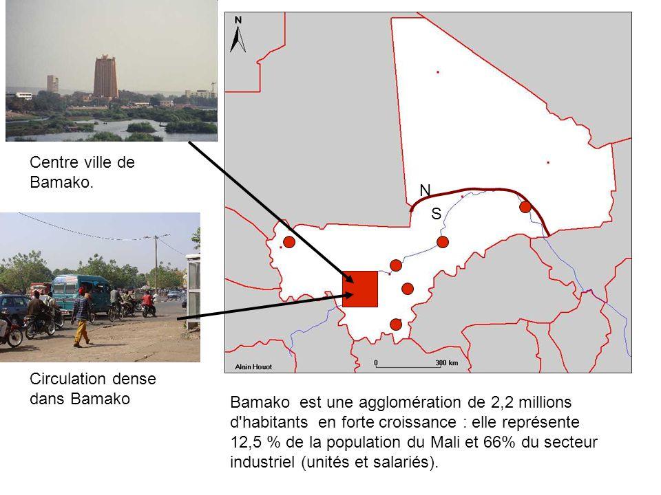 Centre ville de Bamako. Circulation dense dans Bamako Bamako est une agglomération de 2,2 millions d'habitants en forte croissance : elle représente 1