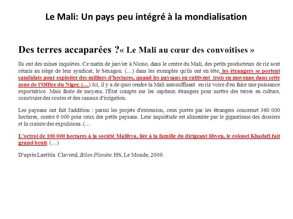 Des terres accaparées ? « Le Mali au cœur des convoitises » Ils ont des mines inquiètes. Ce matin de janvier à Niono, dans le centre du Mali, des peti