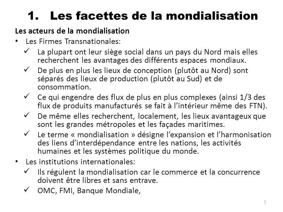 1. Les facettes de la mondialisation Les acteurs de la mondialisation Les Firmes Transnationales: La plupart ont leur siège social dans un pays du Nor