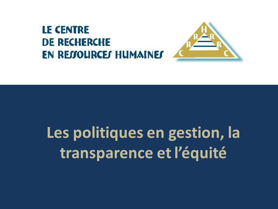 Les politiques en gestion, la transparence et léquité