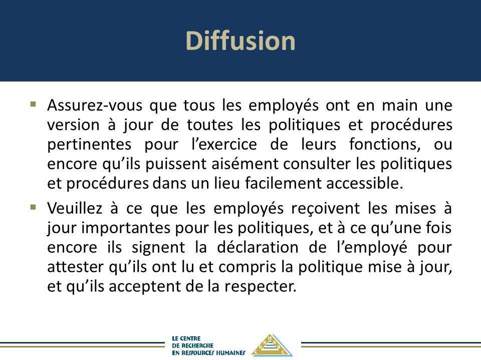 Diffusion Assurez-vous que tous les employés ont en main une version à jour de toutes les politiques et procédures pertinentes pour lexercice de leurs