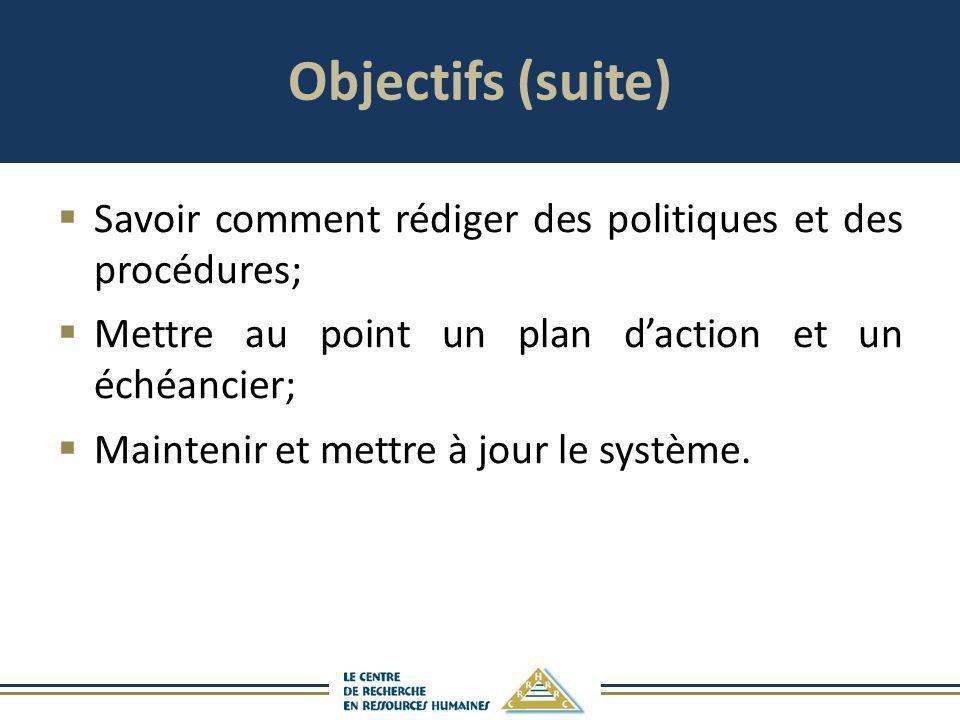 Objectifs (suite) Savoir comment rédiger des politiques et des procédures; Mettre au point un plan daction et un échéancier; Maintenir et mettre à jou