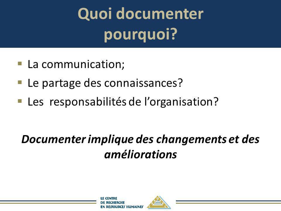 Quoi documenter pourquoi? La communication; Le partage des connaissances? Les responsabilités de lorganisation? Documenter implique des changements et