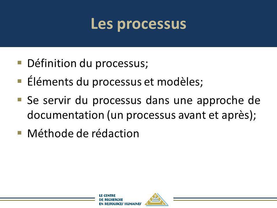 Les processus Définition du processus; Éléments du processus et modèles; Se servir du processus dans une approche de documentation (un processus avant