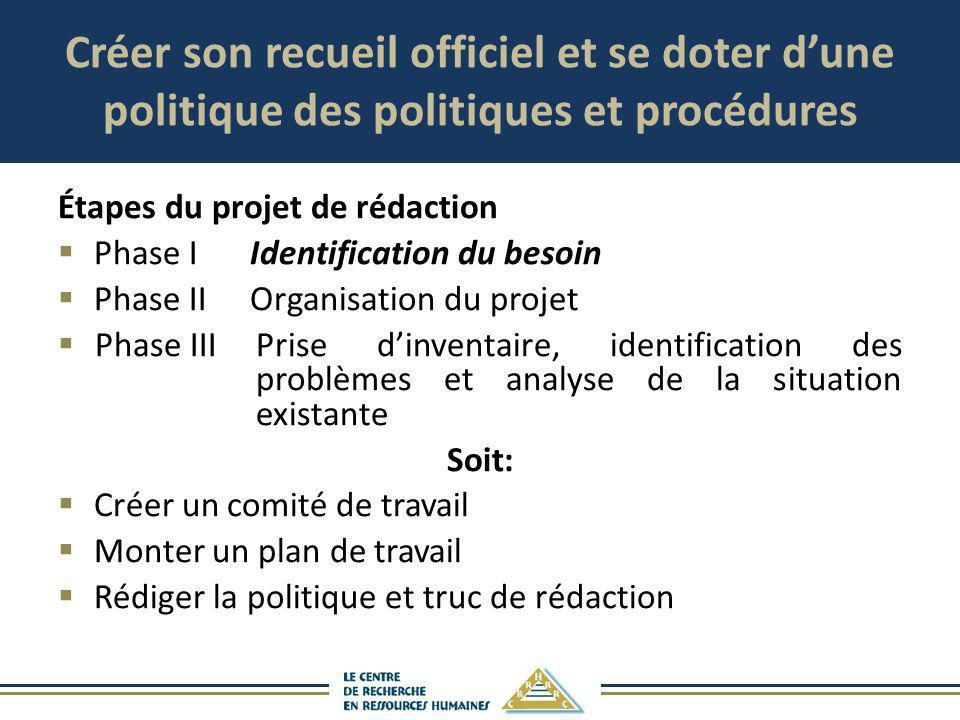 Créer son recueil officiel et se doter dune politique des politiques et procédures Étapes du projet de rédaction Phase IIdentification du besoin Phase