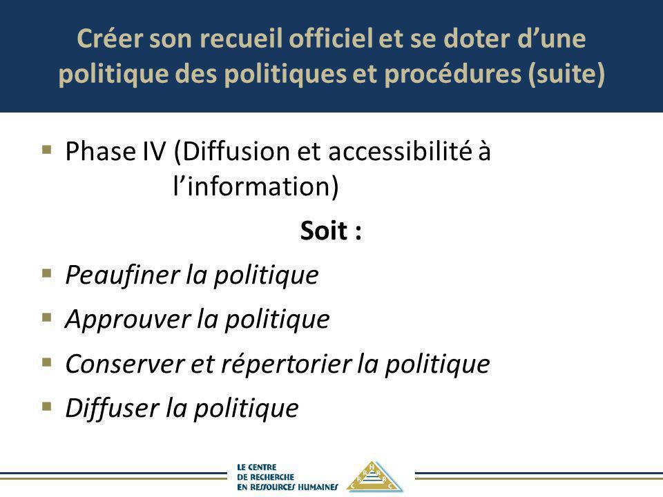 Créer son recueil officiel et se doter dune politique des politiques et procédures (suite) Phase IV (Diffusion et accessibilité à linformation) Soit :