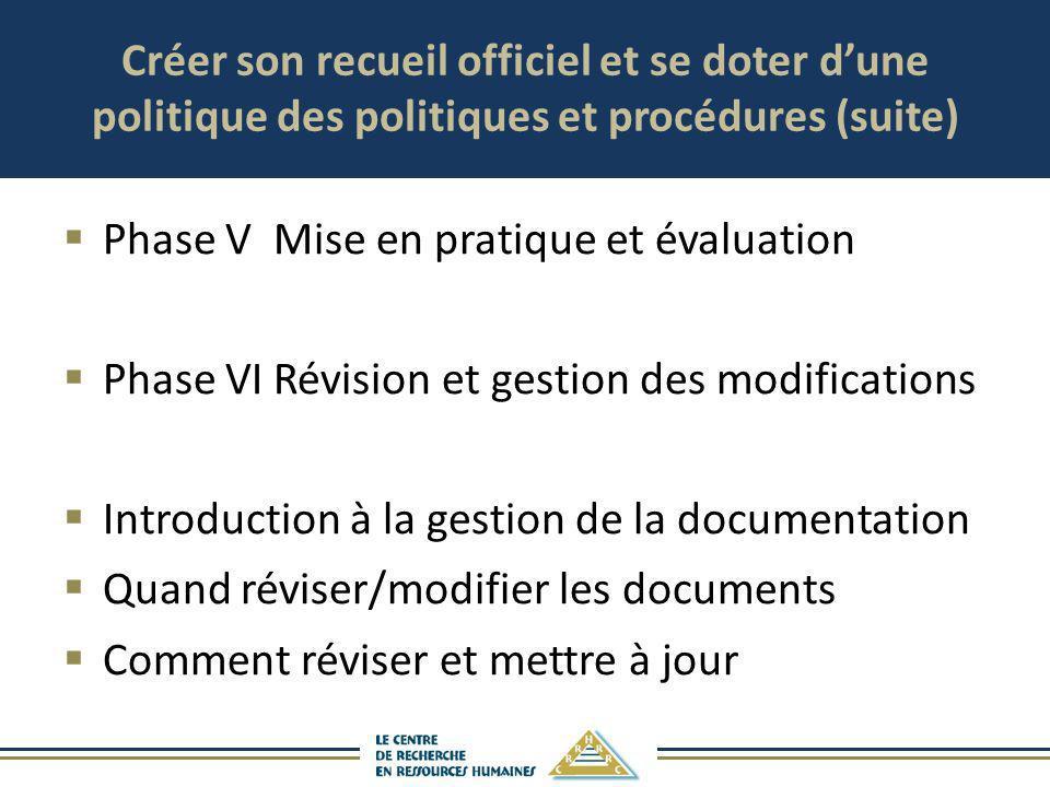 Créer son recueil officiel et se doter dune politique des politiques et procédures (suite) Phase VMise en pratique et évaluation Phase VIRévision et g