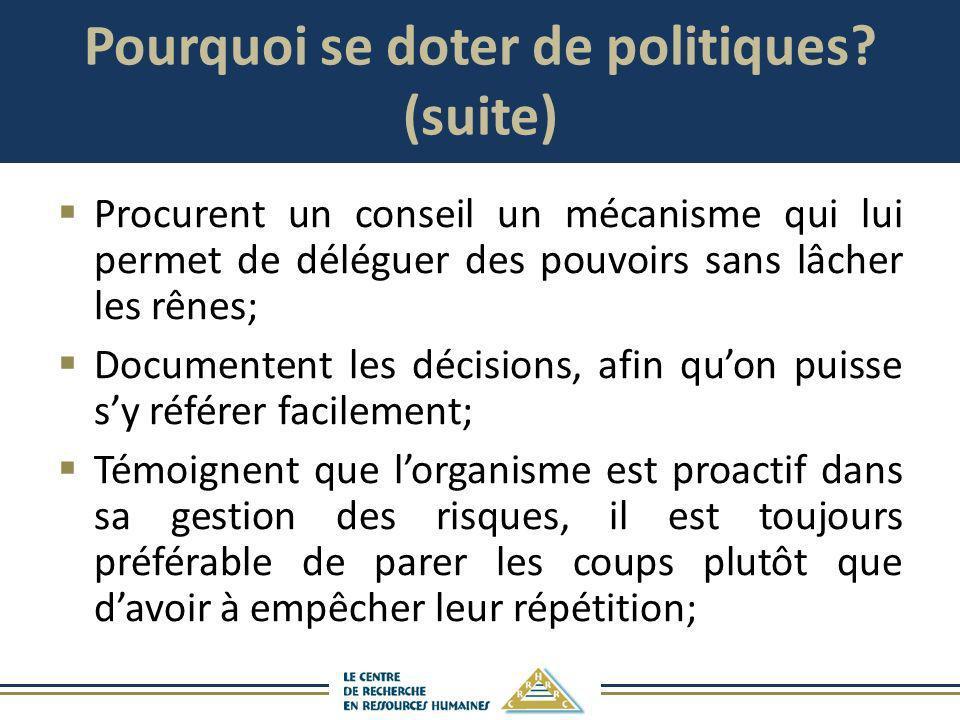 Pourquoi se doter de politiques? (suite) Procurent un conseil un mécanisme qui lui permet de déléguer des pouvoirs sans lâcher les rênes; Documentent