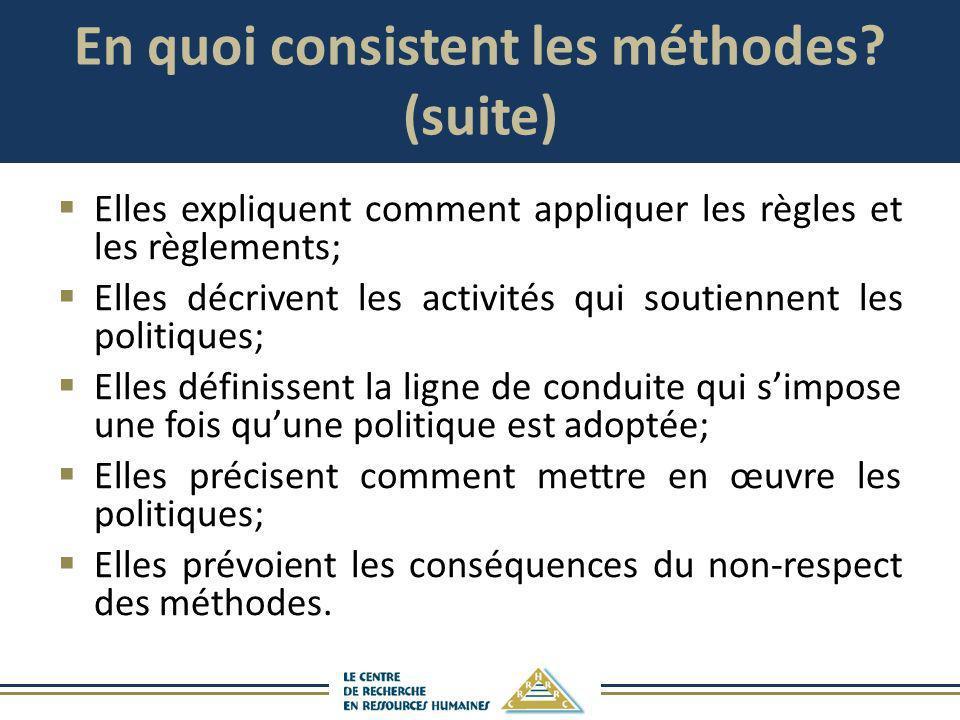 En quoi consistent les méthodes? (suite) Elles expliquent comment appliquer les règles et les règlements; Elles décrivent les activités qui soutiennen