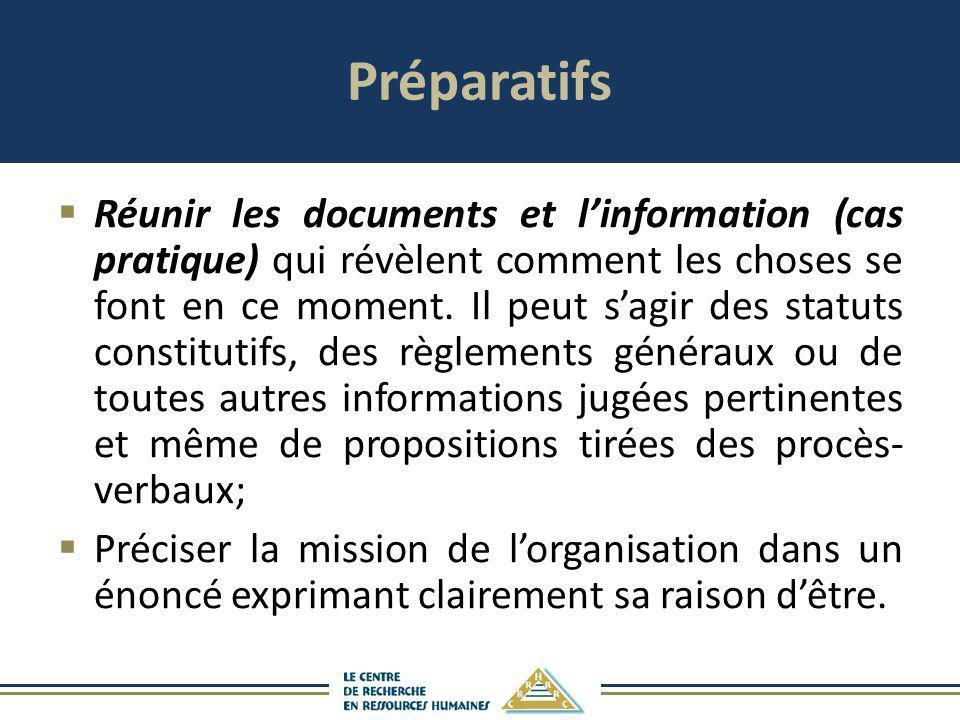 Préparatifs Réunir les documents et linformation (cas pratique) qui révèlent comment les choses se font en ce moment. Il peut sagir des statuts consti