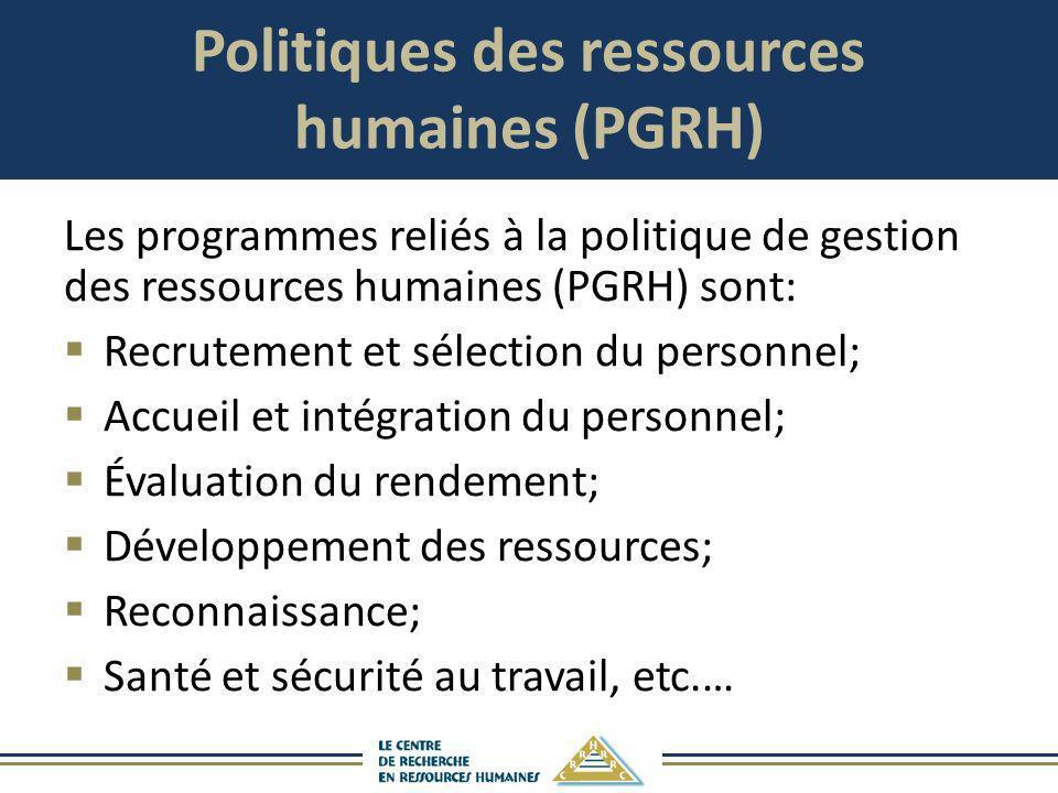 Politiques des ressources humaines (PGRH) Les programmes reliés à la politique de gestion des ressources humaines (PGRH) sont: Recrutement et sélectio