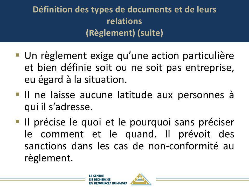 Définition des types de documents et de leurs relations (Règlement) (suite) Un règlement exige quune action particulière et bien définie soit ou ne so