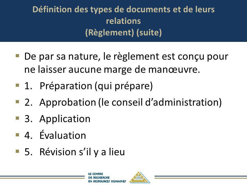 Définition des types de documents et de leurs relations (Règlement) (suite) De par sa nature, le règlement est conçu pour ne laisser aucune marge de m