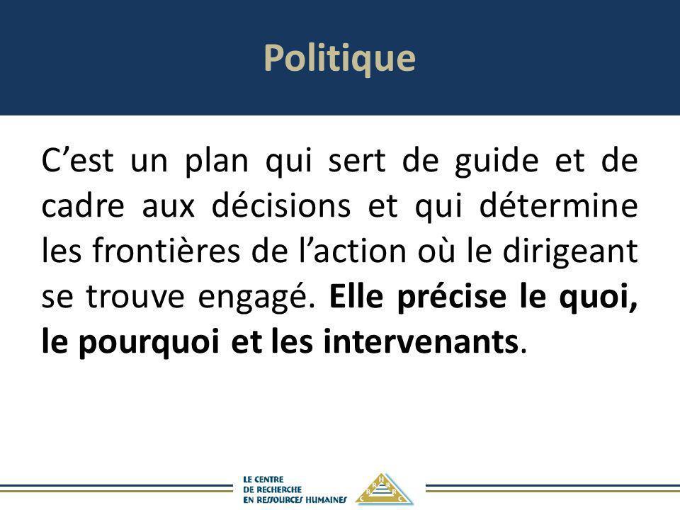 Politique Cest un plan qui sert de guide et de cadre aux décisions et qui détermine les frontières de laction où le dirigeant se trouve engagé. Elle p
