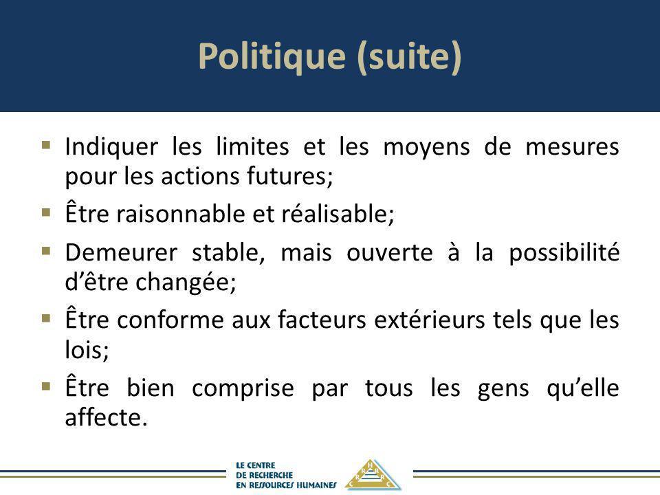 Politique (suite) Indiquer les limites et les moyens de mesures pour les actions futures; Être raisonnable et réalisable; Demeurer stable, mais ouvert
