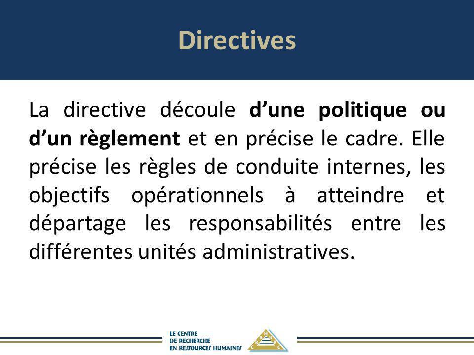 Directives La directive découle dune politique ou dun règlement et en précise le cadre. Elle précise les règles de conduite internes, les objectifs op