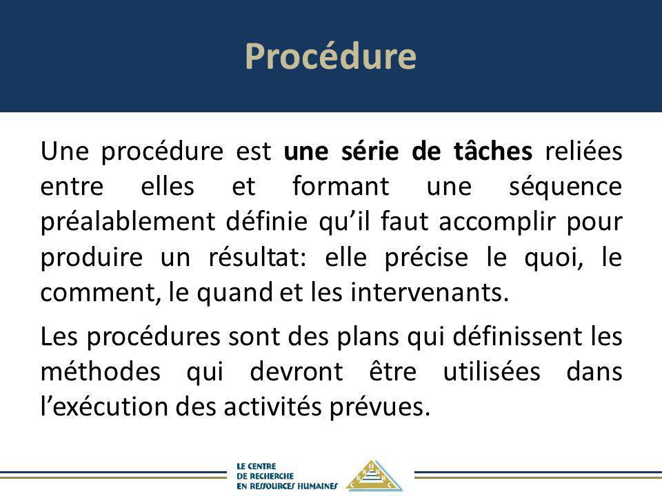 Procédure Une procédure est une série de tâches reliées entre elles et formant une séquence préalablement définie quil faut accomplir pour produire un
