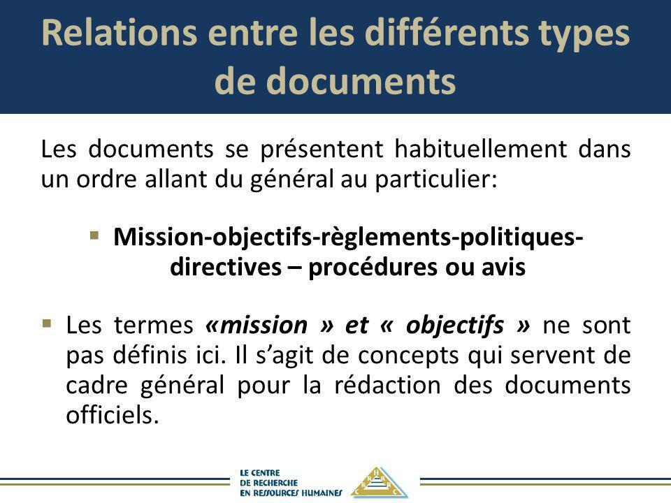 Relations entre les différents types de documents Les documents se présentent habituellement dans un ordre allant du général au particulier: Mission-o