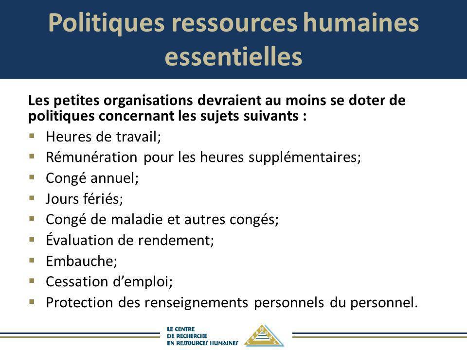 Politiques ressources humaines essentielles Les petites organisations devraient au moins se doter de politiques concernant les sujets suivants : Heure