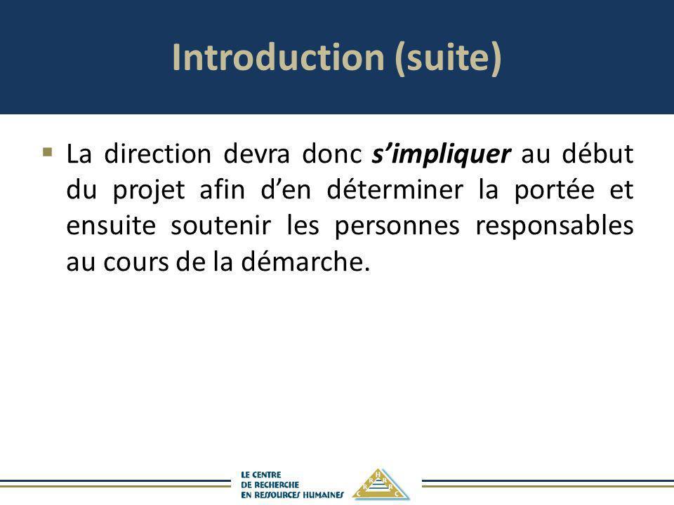 Introduction (suite) La direction devra donc simpliquer au début du projet afin den déterminer la portée et ensuite soutenir les personnes responsable