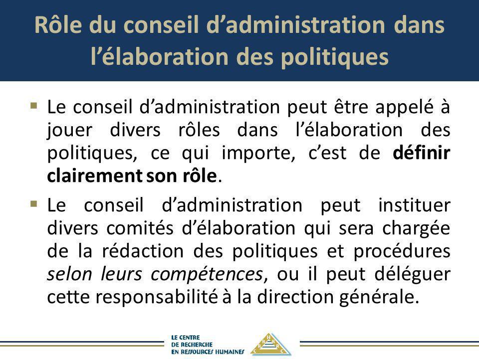 Rôle du conseil dadministration dans lélaboration des politiques Le conseil dadministration peut être appelé à jouer divers rôles dans lélaboration de