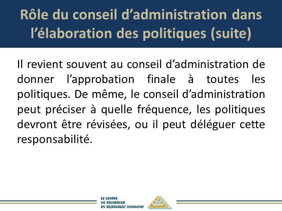 Rôle du conseil dadministration dans lélaboration des politiques (suite) Il revient souvent au conseil dadministration de donner lapprobation finale à