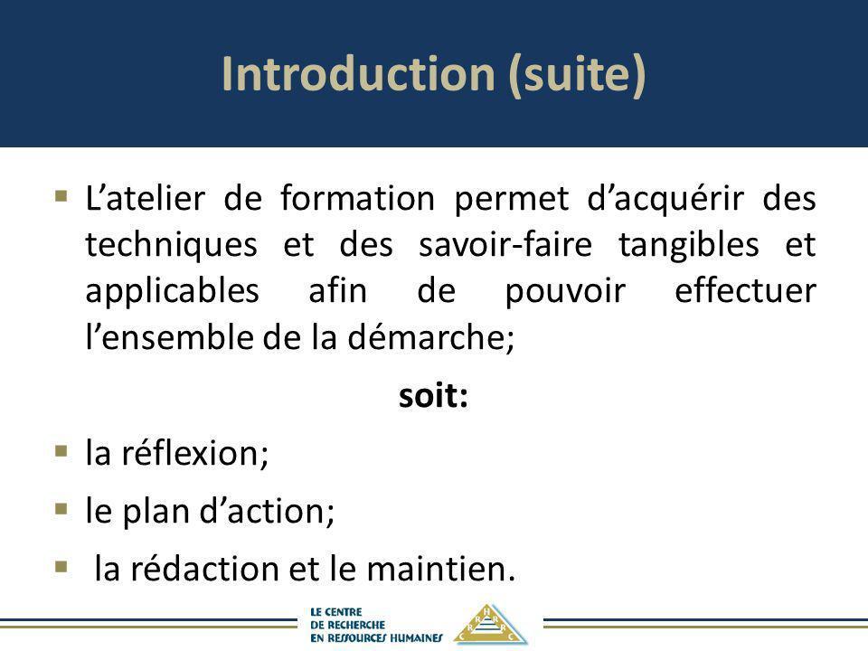 Introduction (suite) Latelier de formation permet dacquérir des techniques et des savoir-faire tangibles et applicables afin de pouvoir effectuer lens