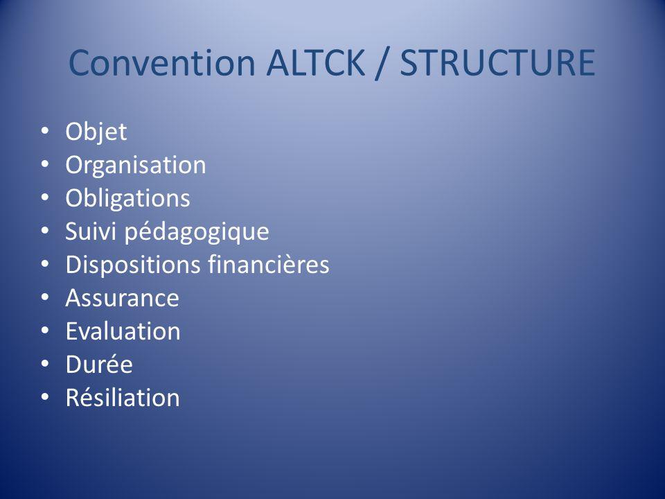 Convention ALTCK / STRUCTURE Objet Organisation Obligations Suivi pédagogique Dispositions financières Assurance Evaluation Durée Résiliation