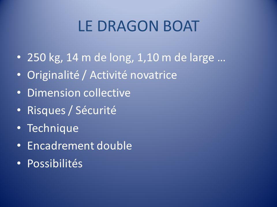 LE DRAGON BOAT 250 kg, 14 m de long, 1,10 m de large … Originalité / Activité novatrice Dimension collective Risques / Sécurité Technique Encadrement