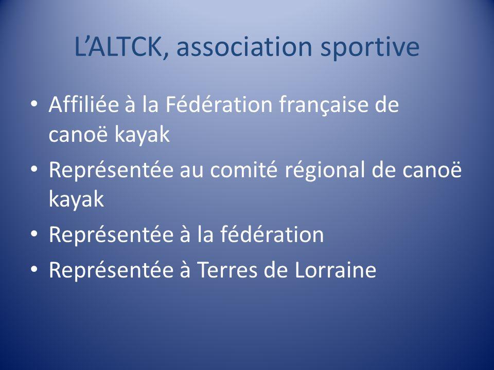 LALTCK, association sportive Affiliée à la Fédération française de canoë kayak Représentée au comité régional de canoë kayak Représentée à la fédérati