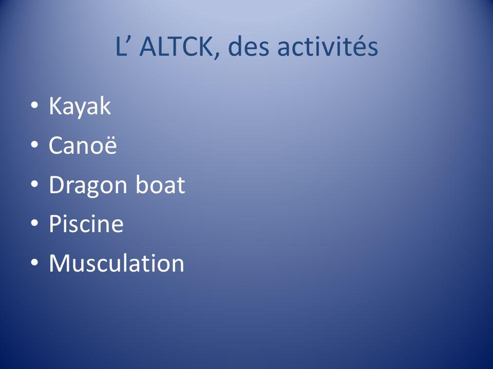 L ALTCK, des activités Kayak Canoë Dragon boat Piscine Musculation