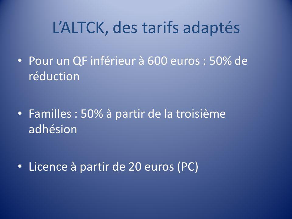 LALTCK, des tarifs adaptés Pour un QF inférieur à 600 euros : 50% de réduction Familles : 50% à partir de la troisième adhésion Licence à partir de 20