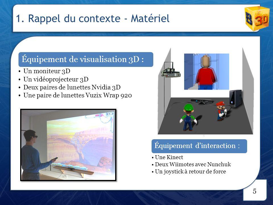 6 Périphériques Visualisation : Lunettes 3D Nvidia Vidéoprojecteur Interaction : Kinect Actions Se déplacer Pivoter la caméra 1.