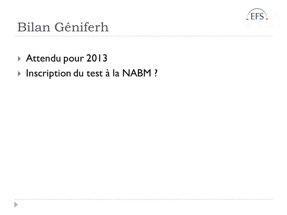 Bilan Géniferh Attendu pour 2013 Inscription du test à la NABM ?