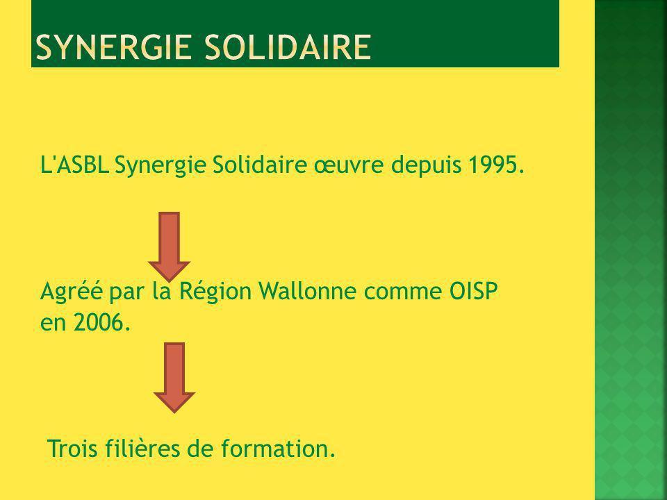 L ASBL Synergie Solidaire œuvre depuis 1995.Agréé par la Région Wallonne comme OISP en 2006.