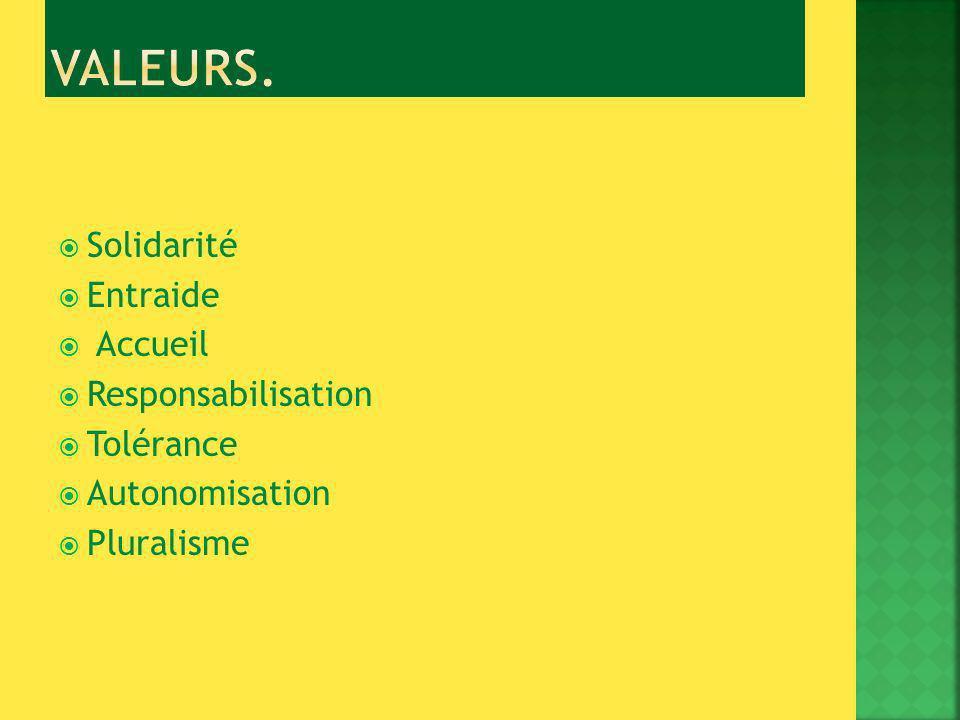 Solidarité Entraide Accueil Responsabilisation Tolérance Autonomisation Pluralisme