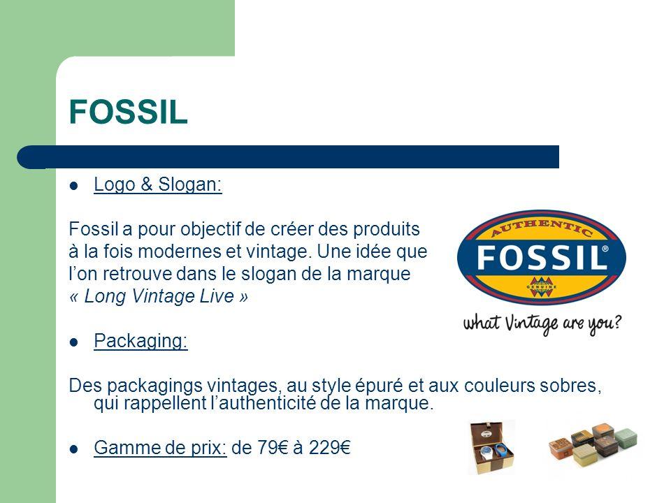 FOSSIL Logo & Slogan: Fossil a pour objectif de créer des produits à la fois modernes et vintage.