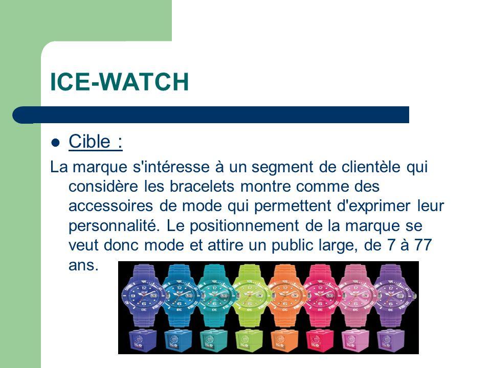 ICE-WATCH Cible : La marque s intéresse à un segment de clientèle qui considère les bracelets montre comme des accessoires de mode qui permettent d exprimer leur personnalité.