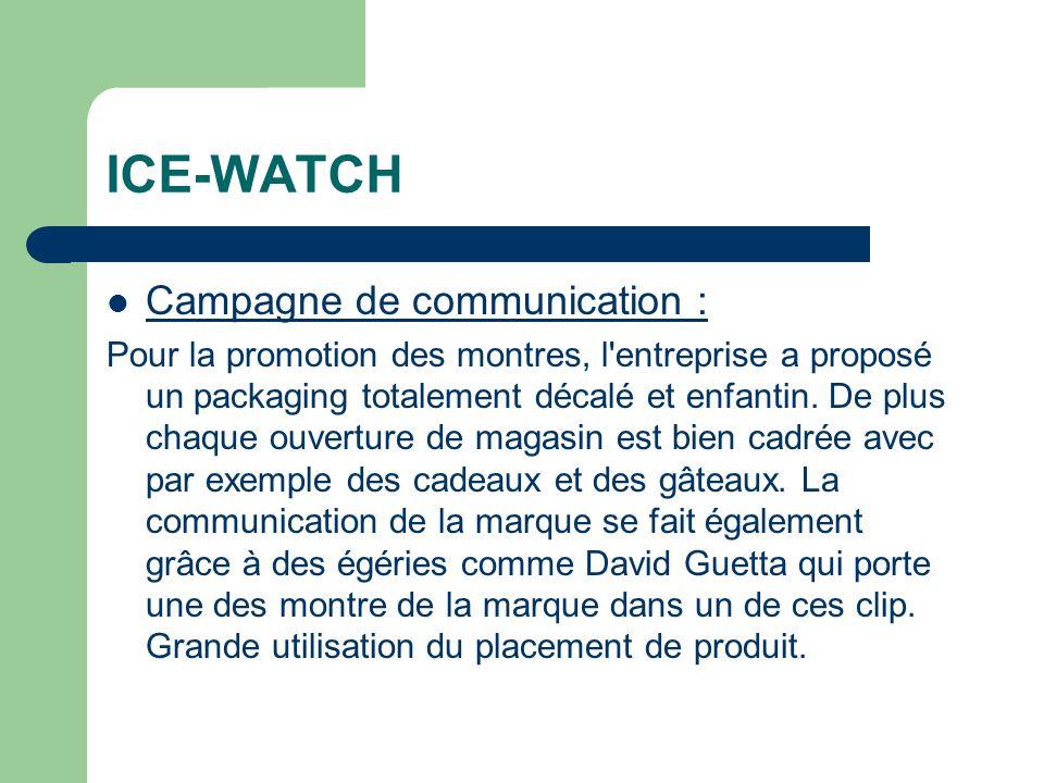 ICE-WATCH Campagne de communication : Pour la promotion des montres, l entreprise a proposé un packaging totalement décalé et enfantin.