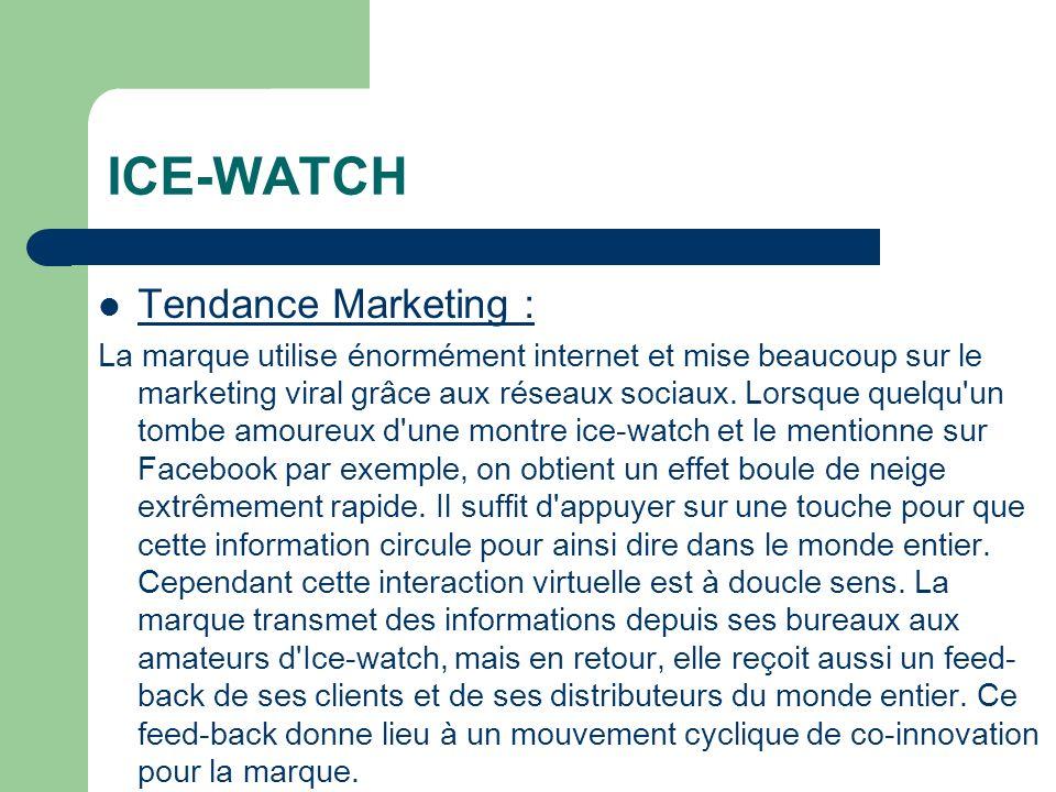 ICE-WATCH Tendance Marketing : La marque utilise énormément internet et mise beaucoup sur le marketing viral grâce aux réseaux sociaux.