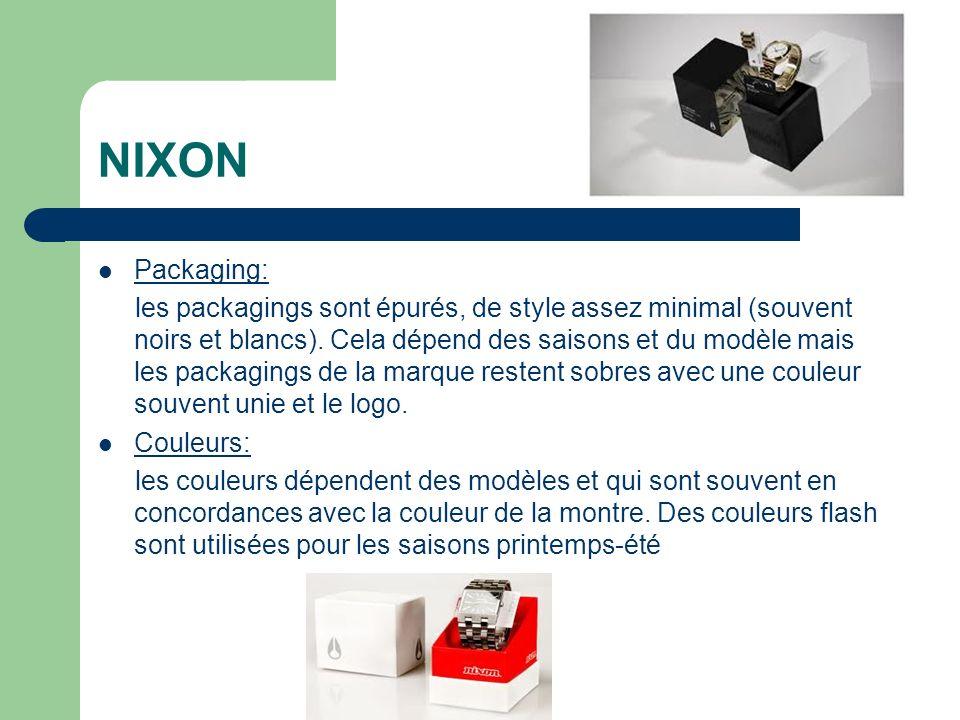 NIXON Packaging: les packagings sont épurés, de style assez minimal (souvent noirs et blancs).