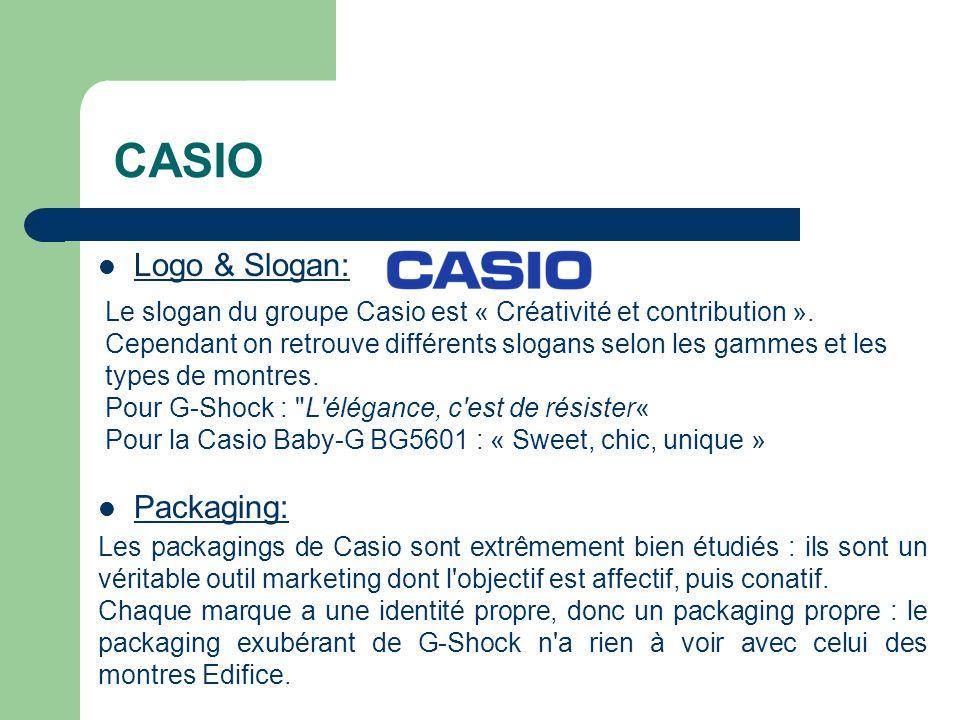 Logo & Slogan: Le slogan du groupe Casio est « Créativité et contribution ».