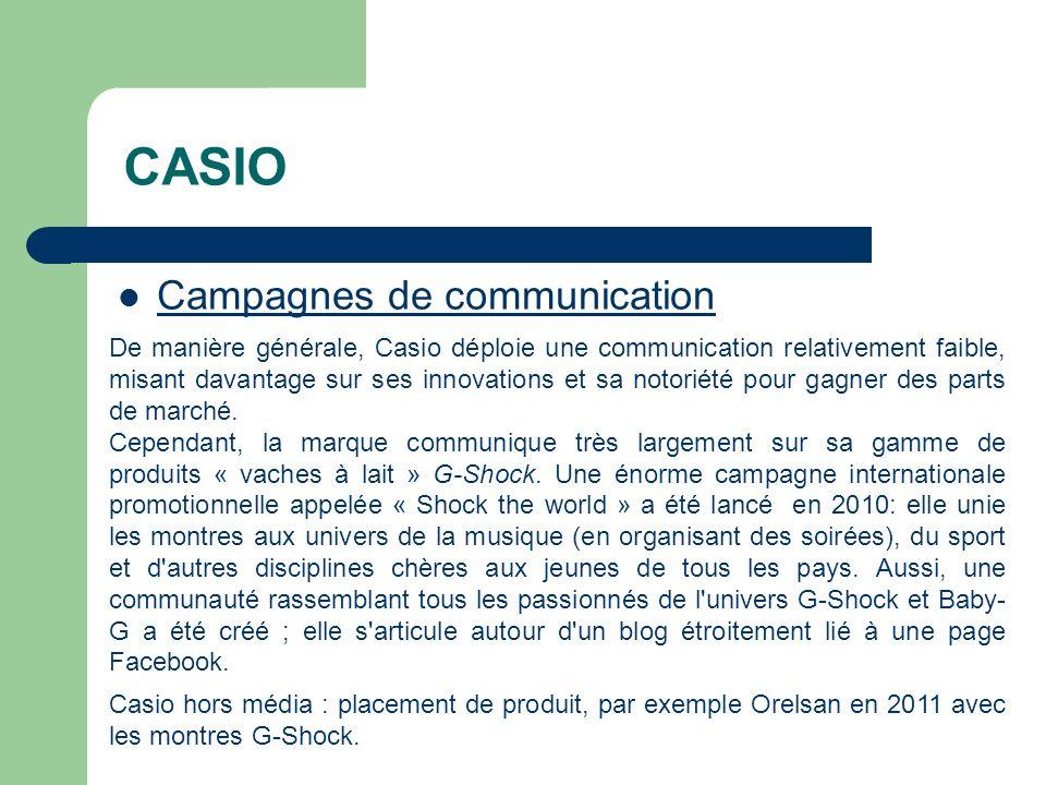 CASIO Campagnes de communication De manière générale, Casio déploie une communication relativement faible, misant davantage sur ses innovations et sa notoriété pour gagner des parts de marché.