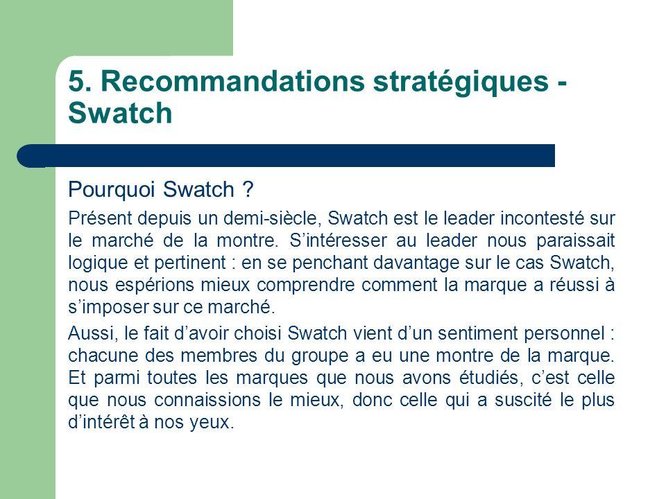 5.Recommandations stratégiques - Swatch Pourquoi Swatch .