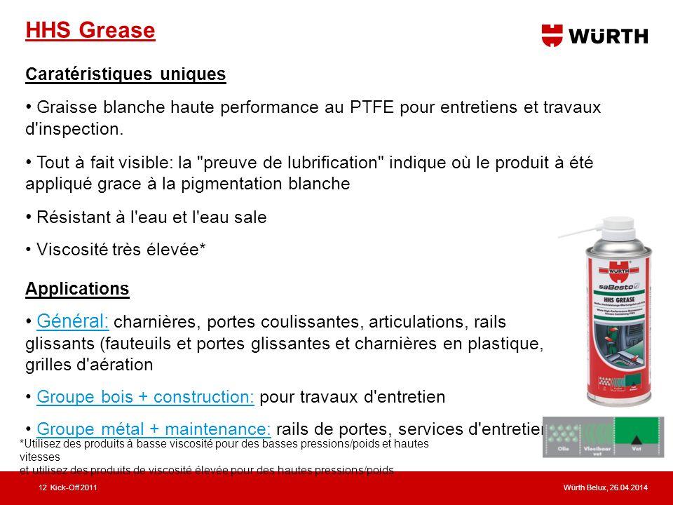 Würth Belux, 26.04.2014Kick-Off 201112 HHS Grease Caratéristiques uniques Graisse blanche haute performance au PTFE pour entretiens et travaux d inspection.