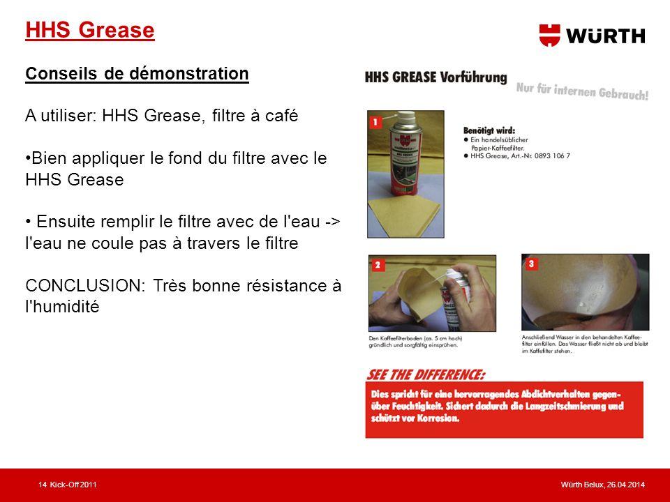Würth Belux, 26.04.2014Kick-Off 201114 HHS Grease Conseils de démonstration A utiliser: HHS Grease, filtre à café Bien appliquer le fond du filtre avec le HHS Grease Ensuite remplir le filtre avec de l eau -> l eau ne coule pas à travers le filtre CONCLUSION: Très bonne résistance à l humidité